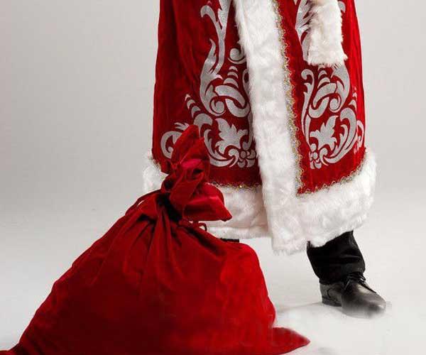 Мешок подарков в цвет шубы Деда Мороза.