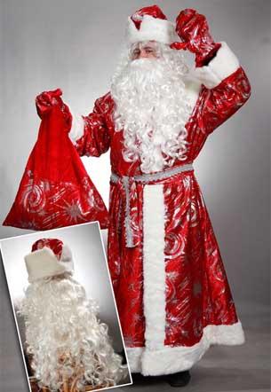 Шуба Деда Мороза с узорами с пышной бородой.