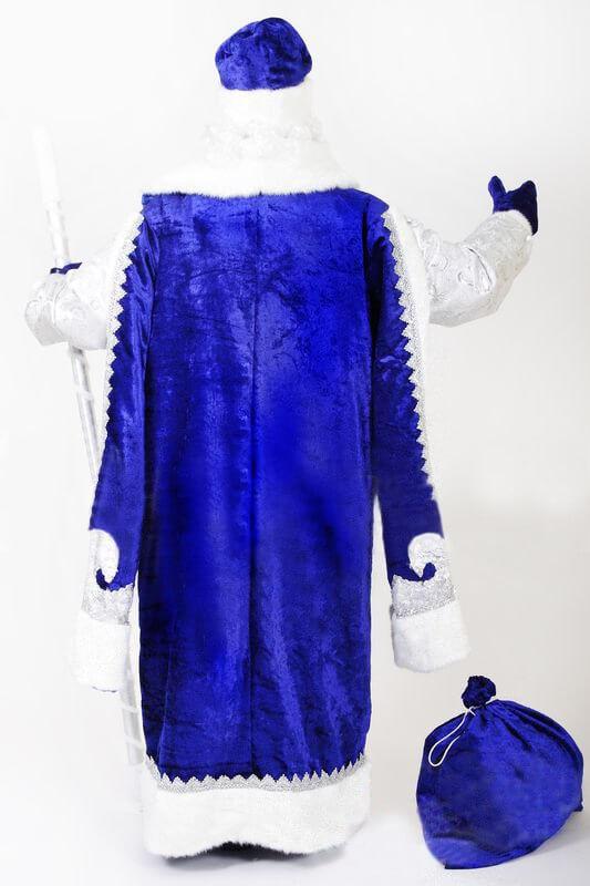 Синий костюм Деда Мороза вид сзади.