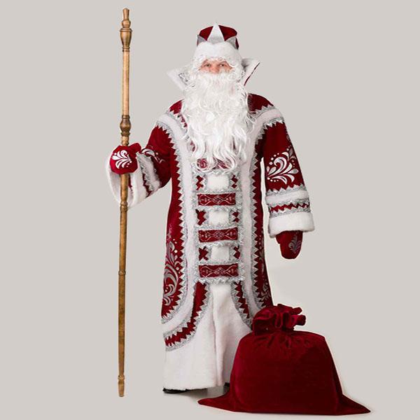 Купеческий Костюм Деда Мороза бордового цвета в Пензе